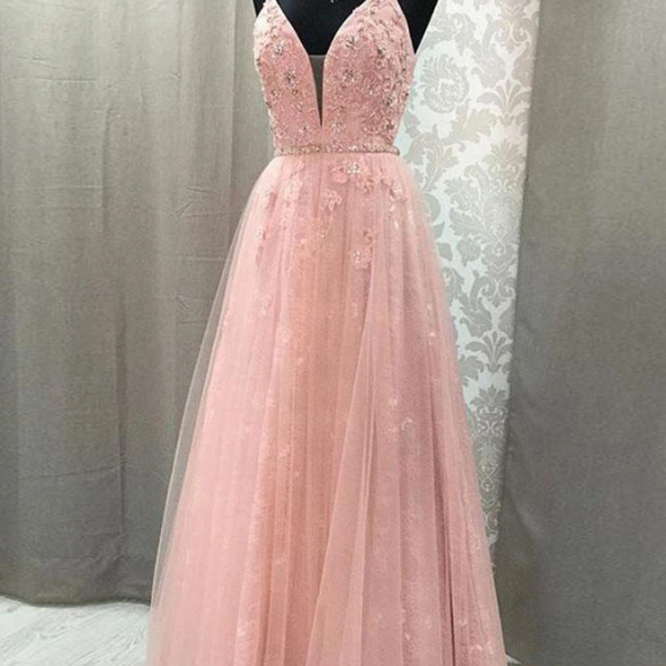 Pink Prom Dress with Open Back