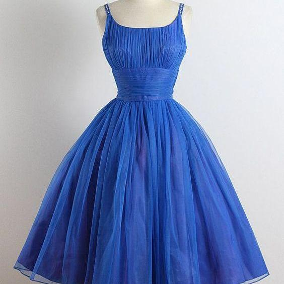 Scoop Neckline Royal Blue Hoco Party Dress Homecoming