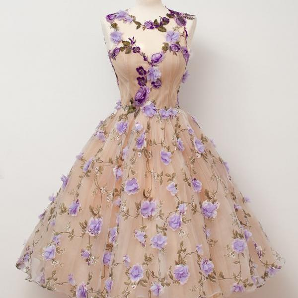 Sheer Sweetheart Floral Homecoming Dress