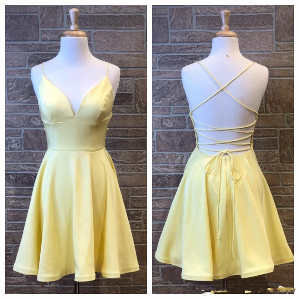 Yellow Short Hoco Party Dress