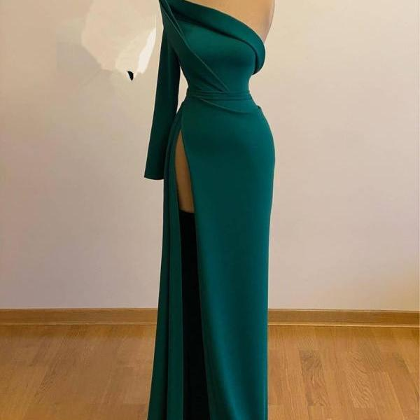 One Shoulder Green Evening Gown with Slit