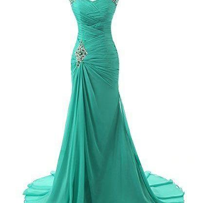 Green Evening Dresses Long Pageant Party Gowns