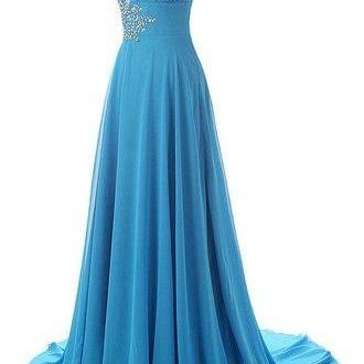 Lake Blue One Shoulder Long Evening Dress