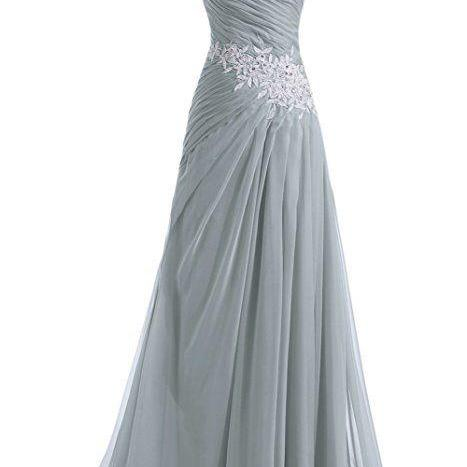 One Shoulder Grey Pleated Long Evening Dress with Appliques