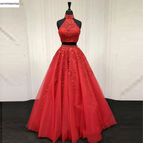 2 Pieces Red Prom Dresses