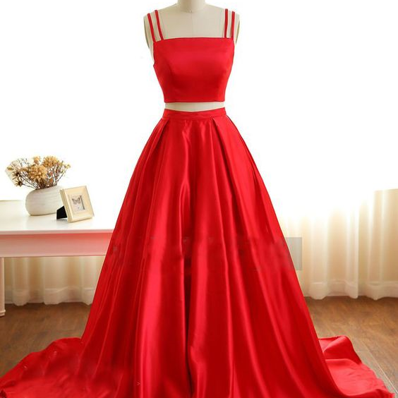 Two Pieces Red Satin Prom Dress