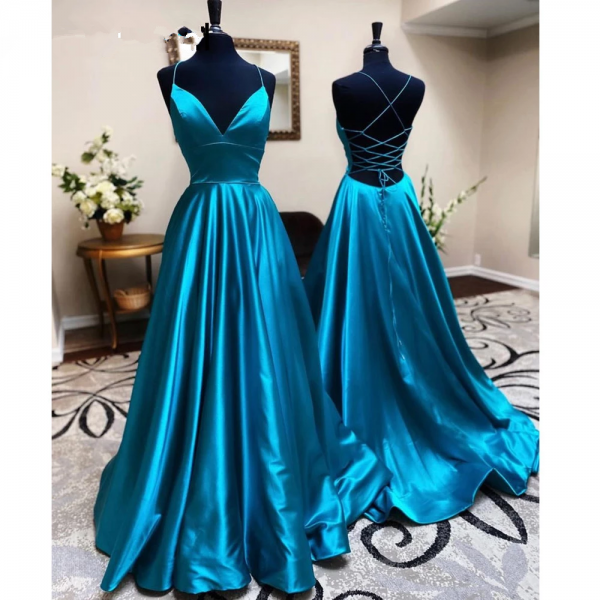 Lace-up Back Simple Prom Dress