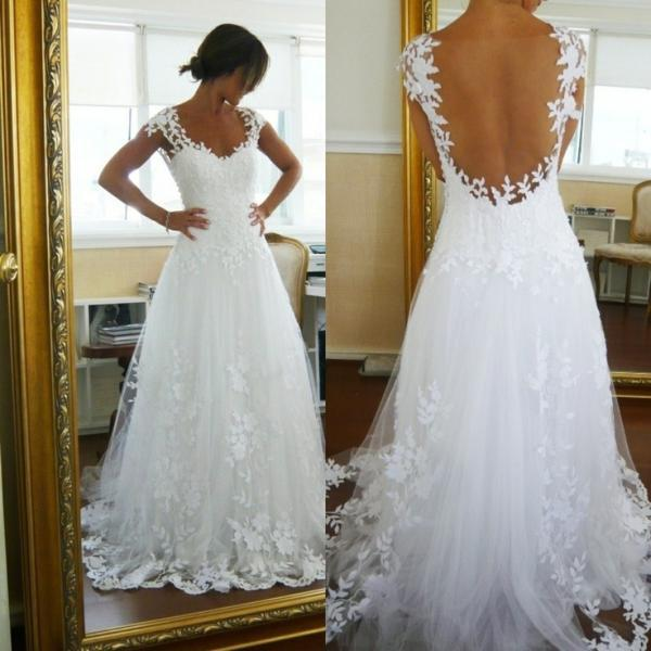 A-line/Princess Floor Length Sweep Train Sheer Back Wedding Dress with Lace Trim Vestido de noiva