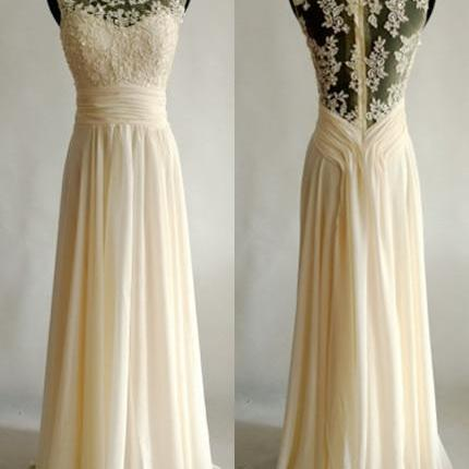 Champagne Scoop Neckline Floor Length Evening Dress with Ruched Sash and Appliques