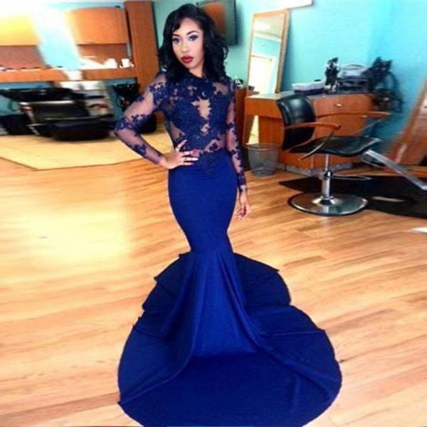 Long Sleeves Mermaid Evening Dress Prom Dress