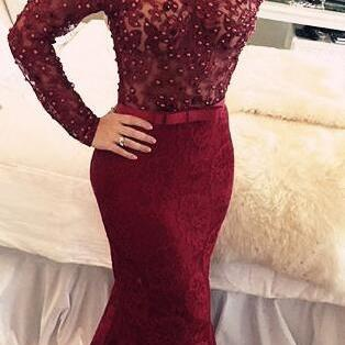 Long Sleeves V Back Trumpet Lace Prom  Dress with Beadings