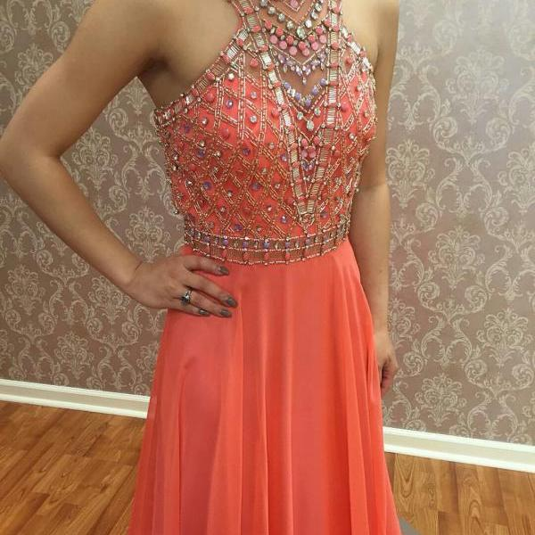 Fully Beaded Bodice Prom Gown