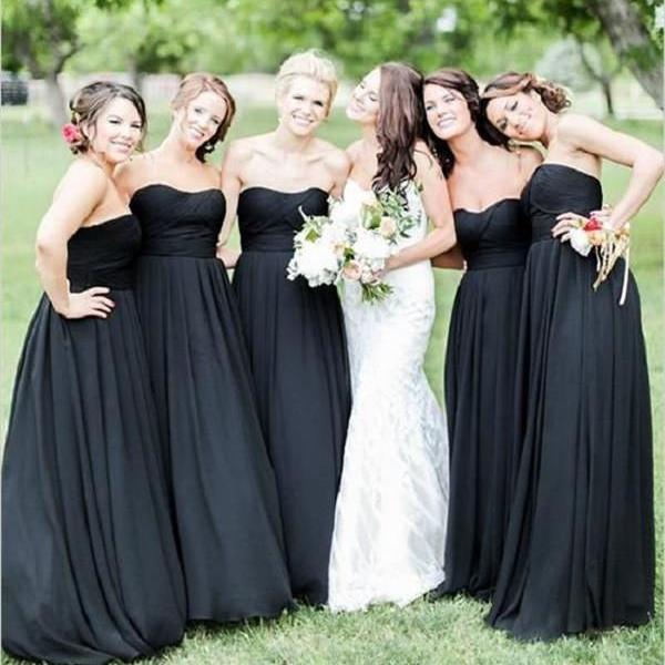 Black Chiffon Ruched Sweetheart Floor Length A-Line Bridesmaid Dress