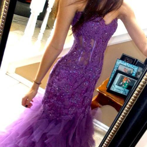 Purple Sweetheart Mermaid Prom Gown 2016 Evening Dress Made to Order