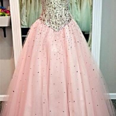 Sweetheart Basque Waistline Floor Length Ball Gown Prom Dress