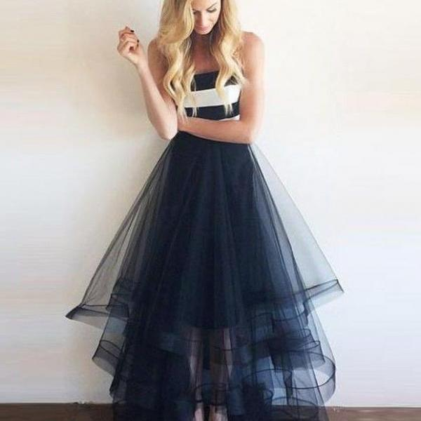 A-line Princess Strapless Navy Tulle Prom Dress