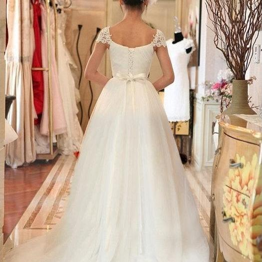 Sweetheart Wedding Dress With Cap Sleeves: Bridal Dress Lace Cap Sleeves Ruched Sweetheart Neckline