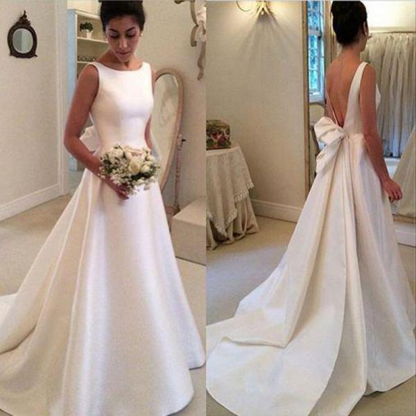 Simple Satin Wedding Dress 2017 Spring Bridal Dress with Back Bow Sash