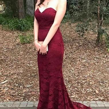 Burgundy Lace Prom Dresses Evening Dresses Formal Occasion Dresses