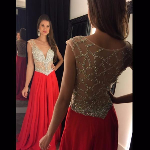 Red Prom Dress with Beaded Open Back
