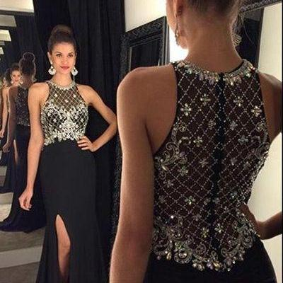 Black Floor Length Prom Dress with Side Slit