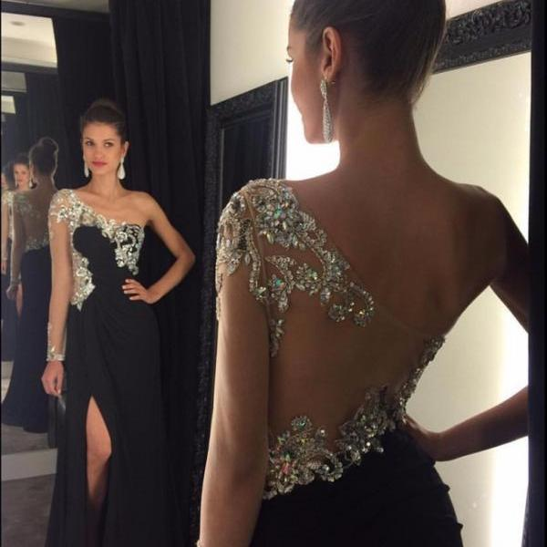 One Shoulder Black Prom Dress with Side Slit