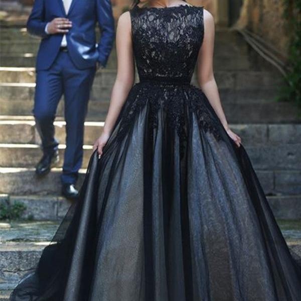 Prom Dress Long Black Formal Dress with Stardust Tulle Skirt
