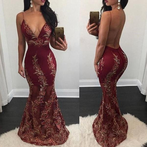 V Neck Mermaid Prom Dress with Gold Appliques