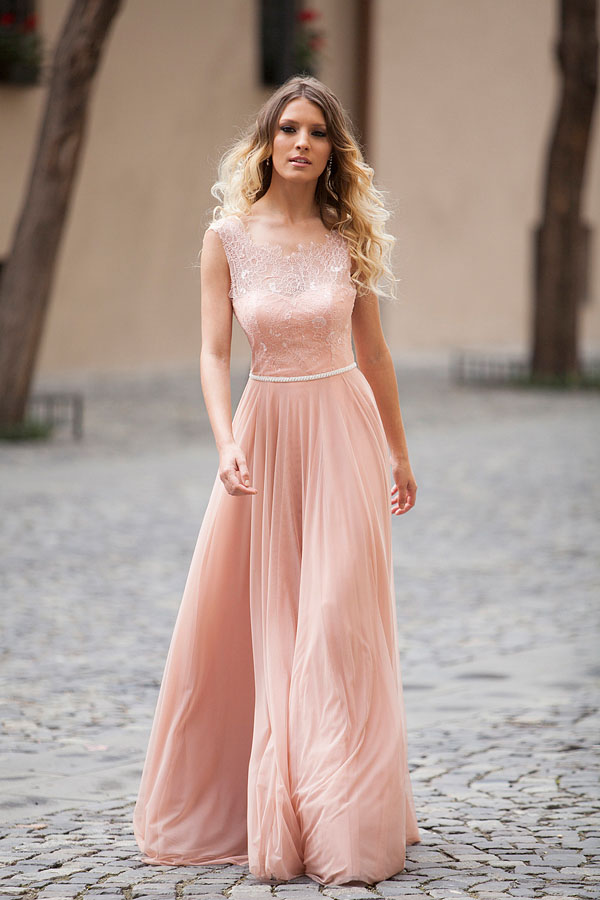 1ee749fd21 Sleeveless Sheer Lace Appliqués Chiffon A-line Floor-Length Prom Dress, Evening  Dress Featuring Ope on Luulla