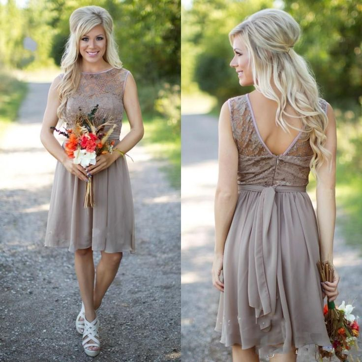 V Back Short Country Bridesmaid Dress Party