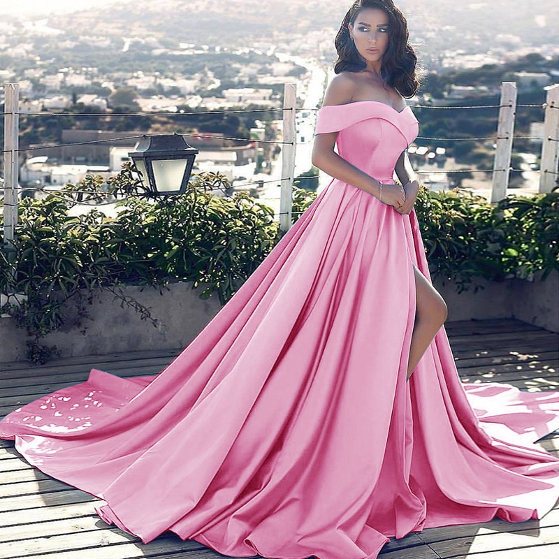4479d46c4929 Prom Dress Pink Off The Shoulder Evening Dress on Luulla