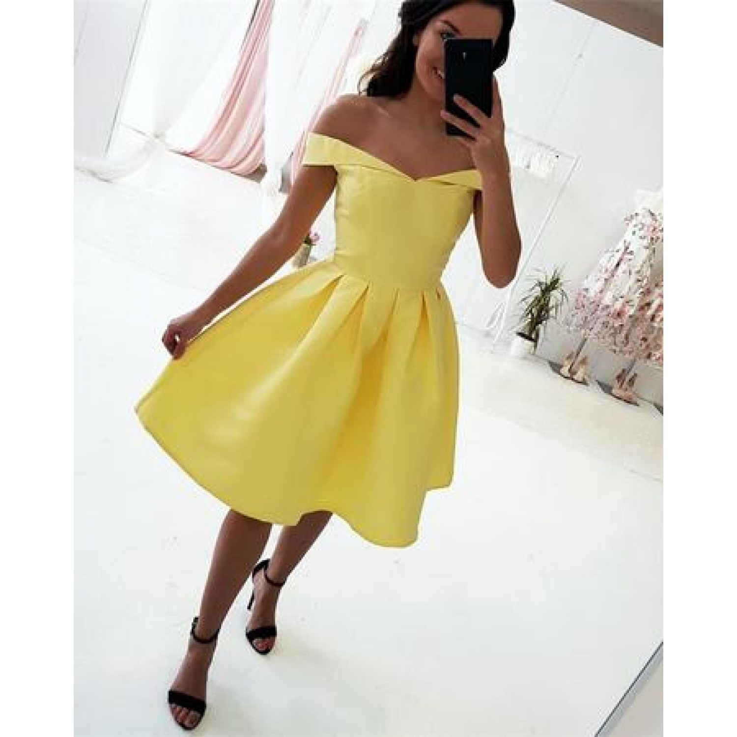 1cd798a6ce77 Yellow Homecoming Dress Off The Shoulder on Luulla