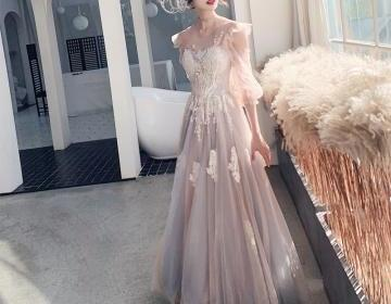 Half Sleeves Asian Style Long Evening Gowns Pageant Dresses