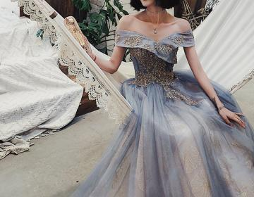 Off the Shoulder Grey Evening Dresses with Sequin Appliques