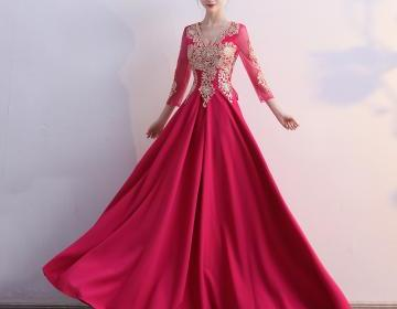3/4 Sleeves Pageant Dresses Evening Gowns